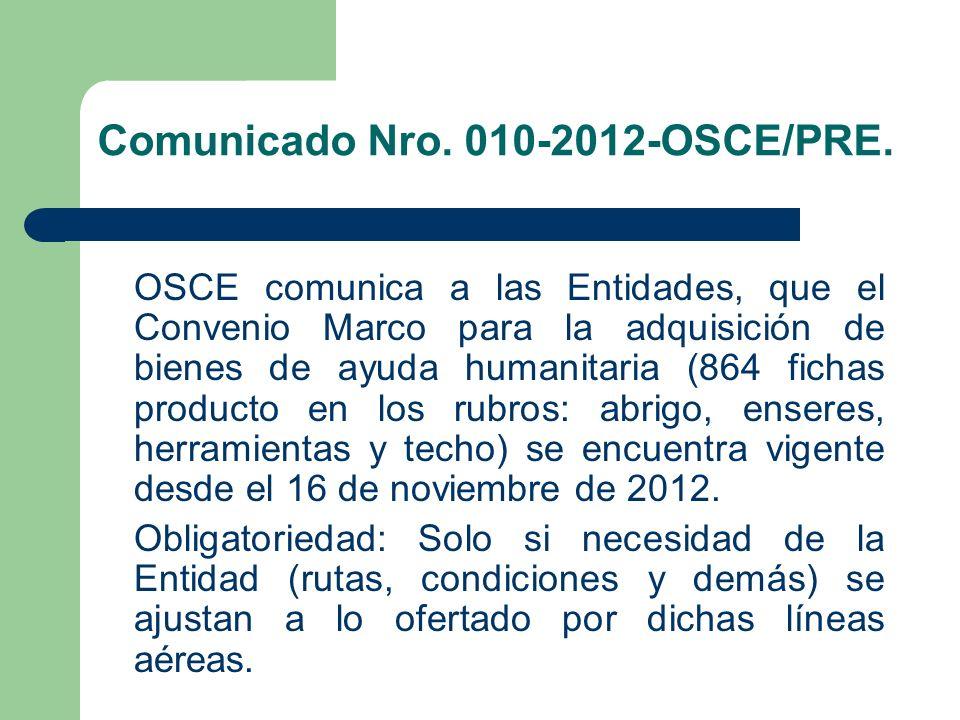 Comunicado Nro. 010-2012-OSCE/PRE.