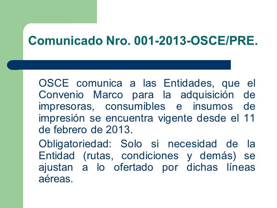Comunicado Nro. 001-2013-OSCE/PRE.