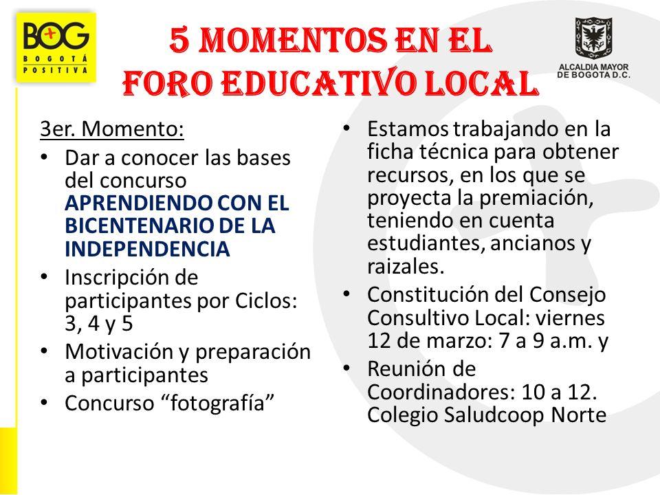 5 MOMENTOS EN EL FORO EDUCATIVO LOCAL