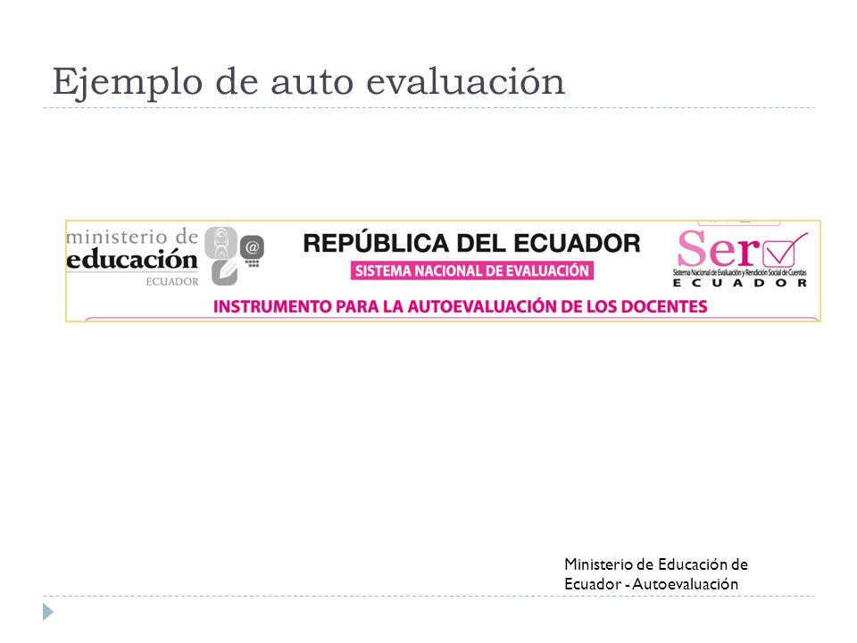 Ejemplo de auto evaluación