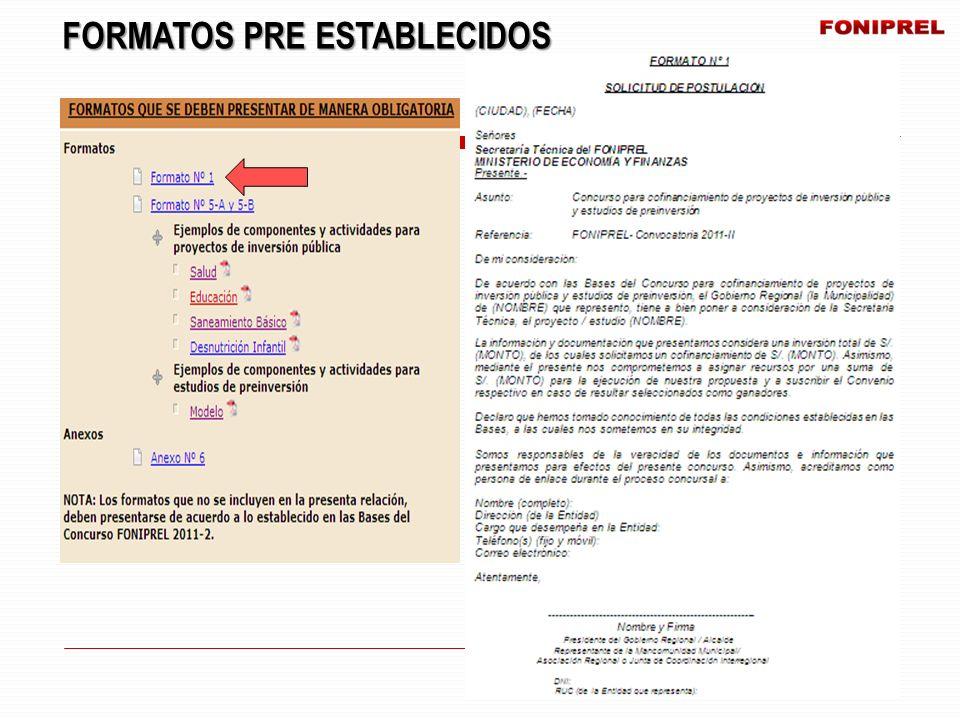 FORMATOS PRE ESTABLECIDOS