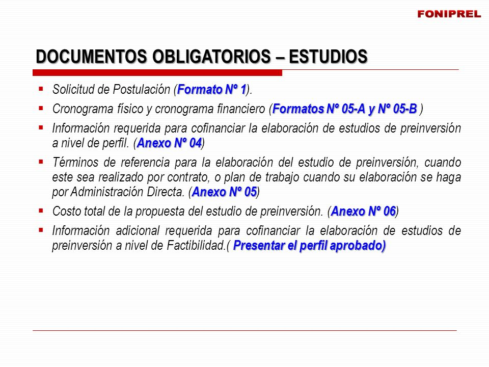 DOCUMENTOS OBLIGATORIOS – ESTUDIOS