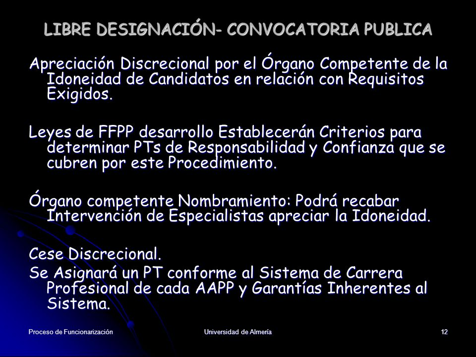 LIBRE DESIGNACIÓN- CONVOCATORIA PUBLICA