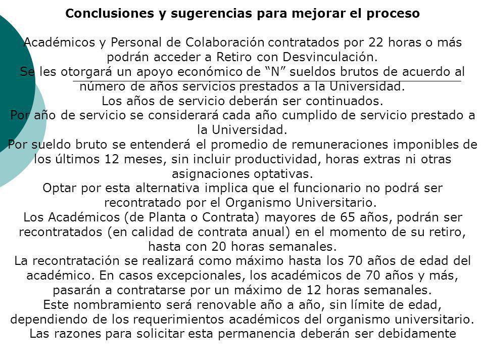 Conclusiones y sugerencias para mejorar el proceso