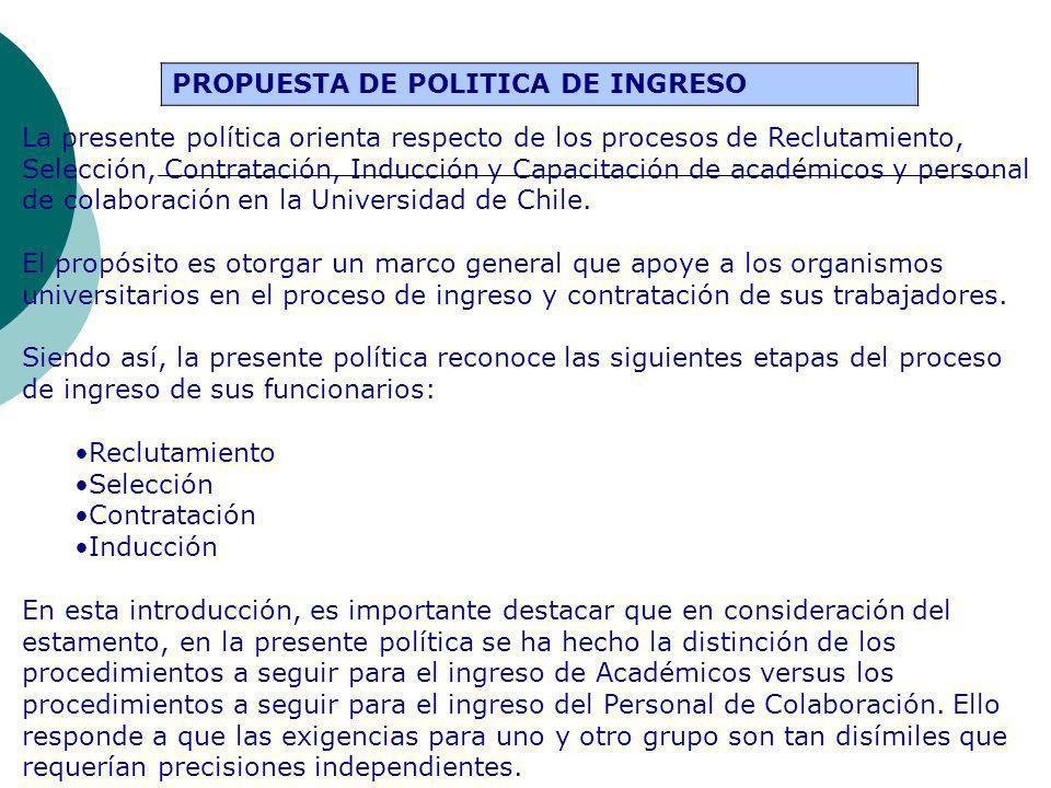 PROPUESTA DE POLITICA DE INGRESO