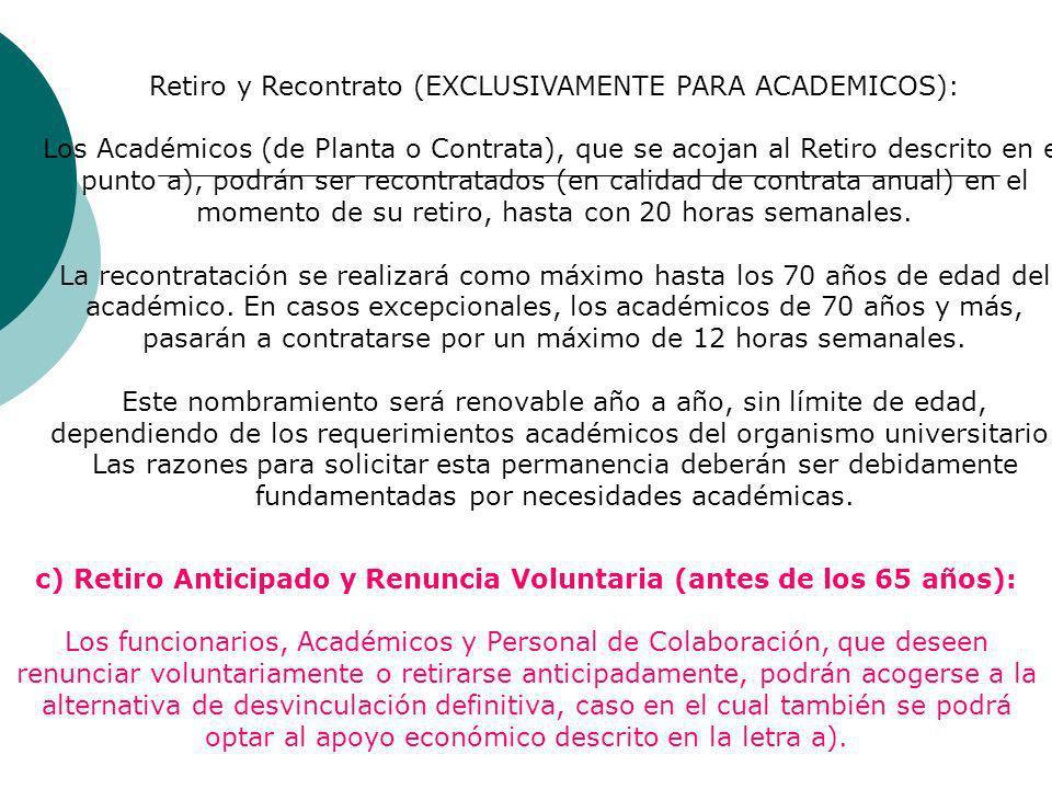 Retiro y Recontrato (EXCLUSIVAMENTE PARA ACADEMICOS):