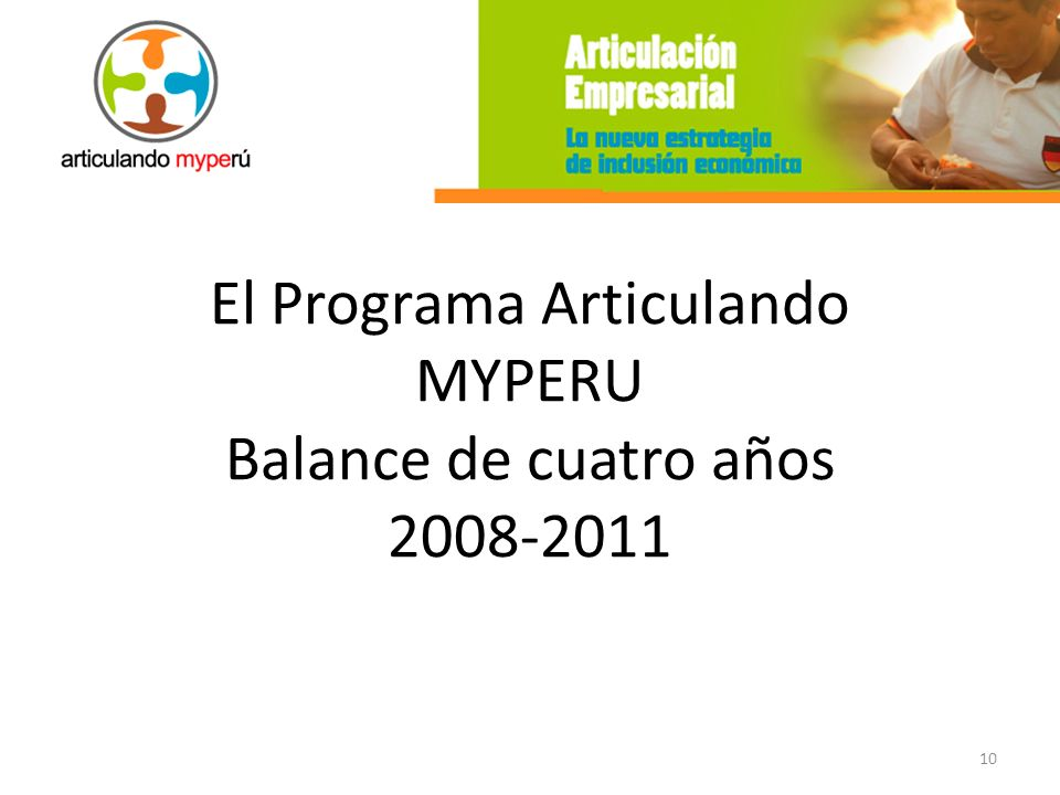 El Programa Articulando MYPERU Balance de cuatro años 2008-2011
