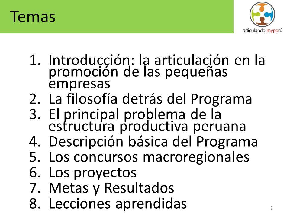 Temas Introducción: la articulación en la promoción de las pequeñas empresas. La filosofía detrás del Programa.