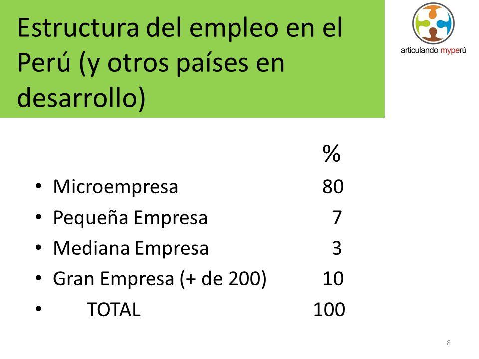 Estructura del empleo en el Perú (y otros países en desarrollo)