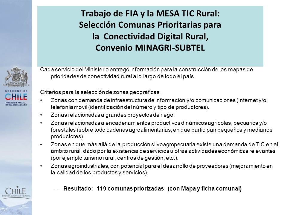 Trabajo de FIA y la MESA TIC Rural: Selección Comunas Prioritarias para la Conectividad Digital Rural, Convenio MINAGRI-SUBTEL