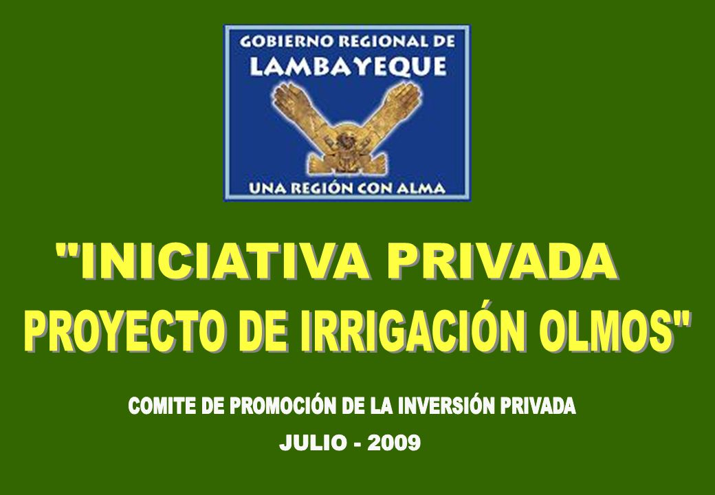 PROYECTO DE IRRIGACIÓN OLMOS