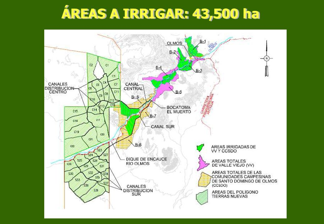 ÁREAS A IRRIGAR: 43,500 ha