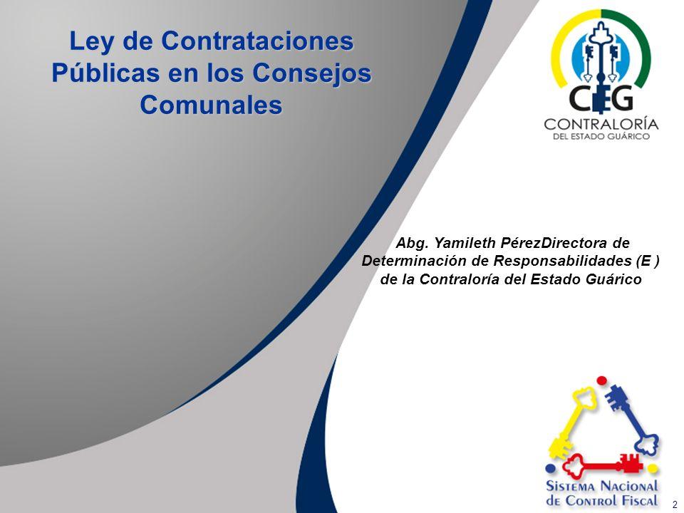 Ley de Contrataciones Públicas en los Consejos Comunales