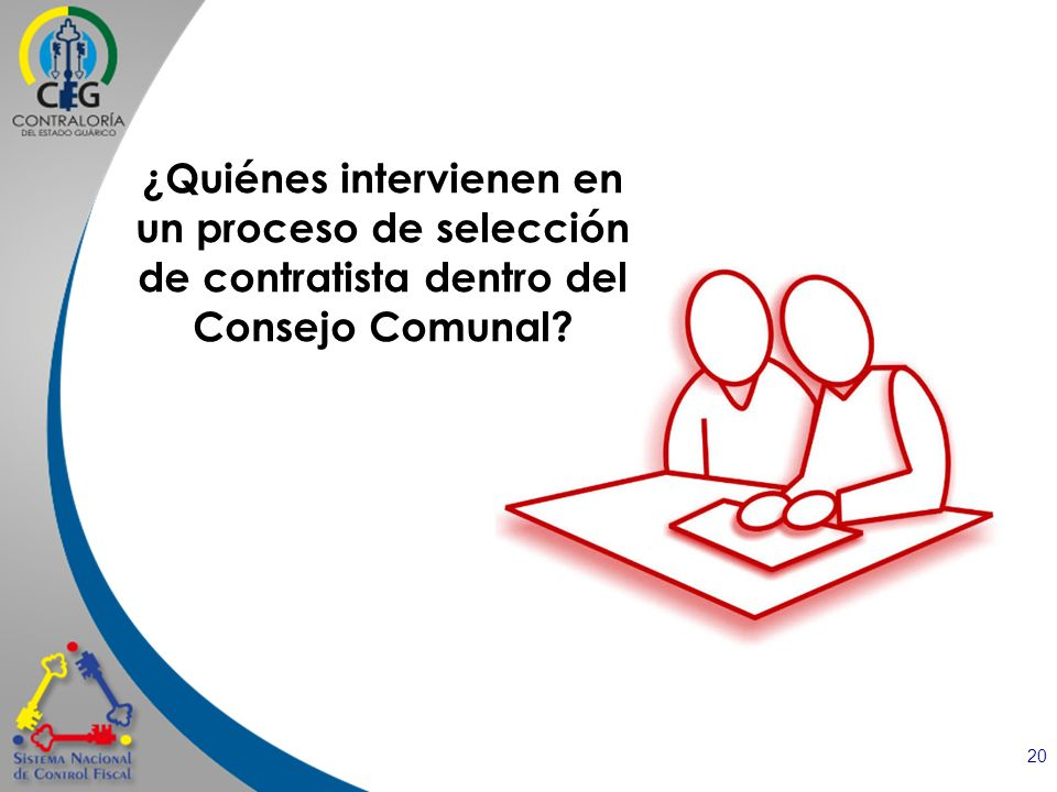 ¿Quiénes intervienen en un proceso de selección de contratista dentro del Consejo Comunal