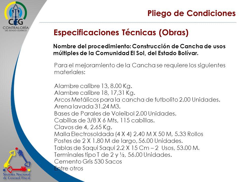 Especificaciones Técnicas (Obras)