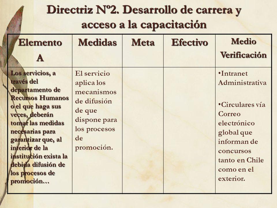 Directriz Nº2. Desarrollo de carrera y acceso a la capacitación