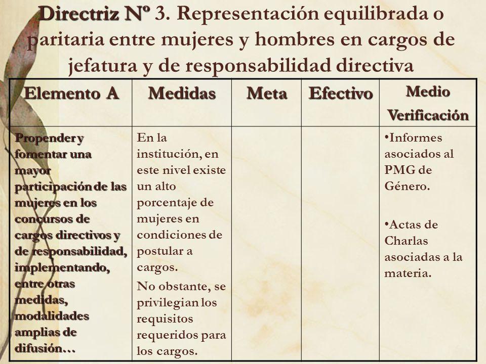 Directriz Nº 3. Representación equilibrada o paritaria entre mujeres y hombres en cargos de jefatura y de responsabilidad directiva