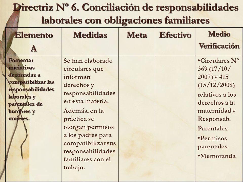 Directriz Nº 6. Conciliación de responsabilidades laborales con obligaciones familiares