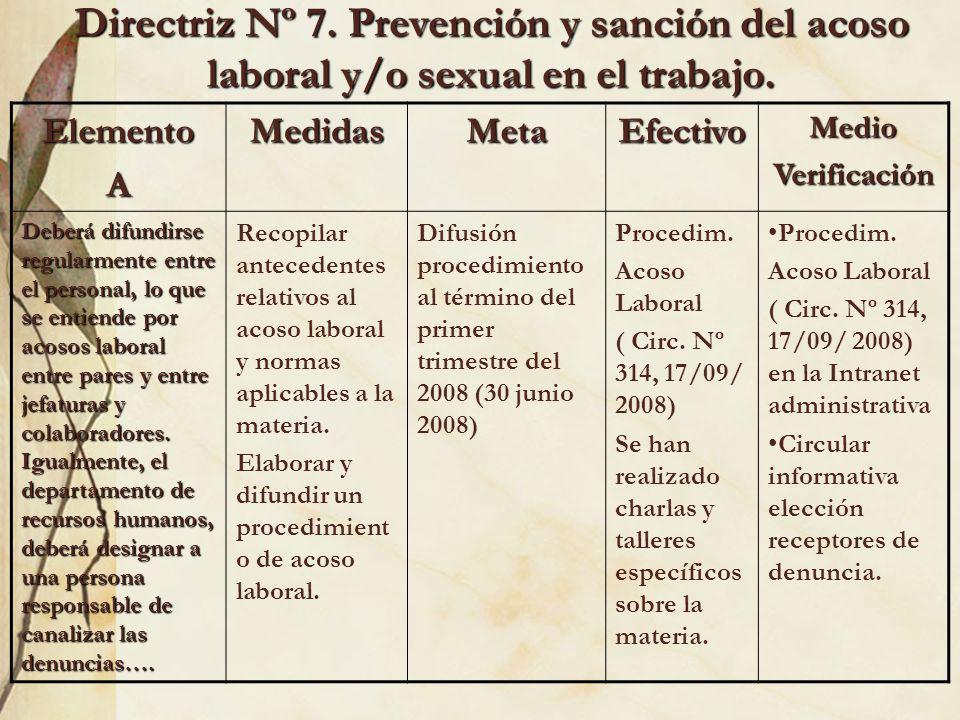 Directriz Nº 7. Prevención y sanción del acoso laboral y/o sexual en el trabajo.