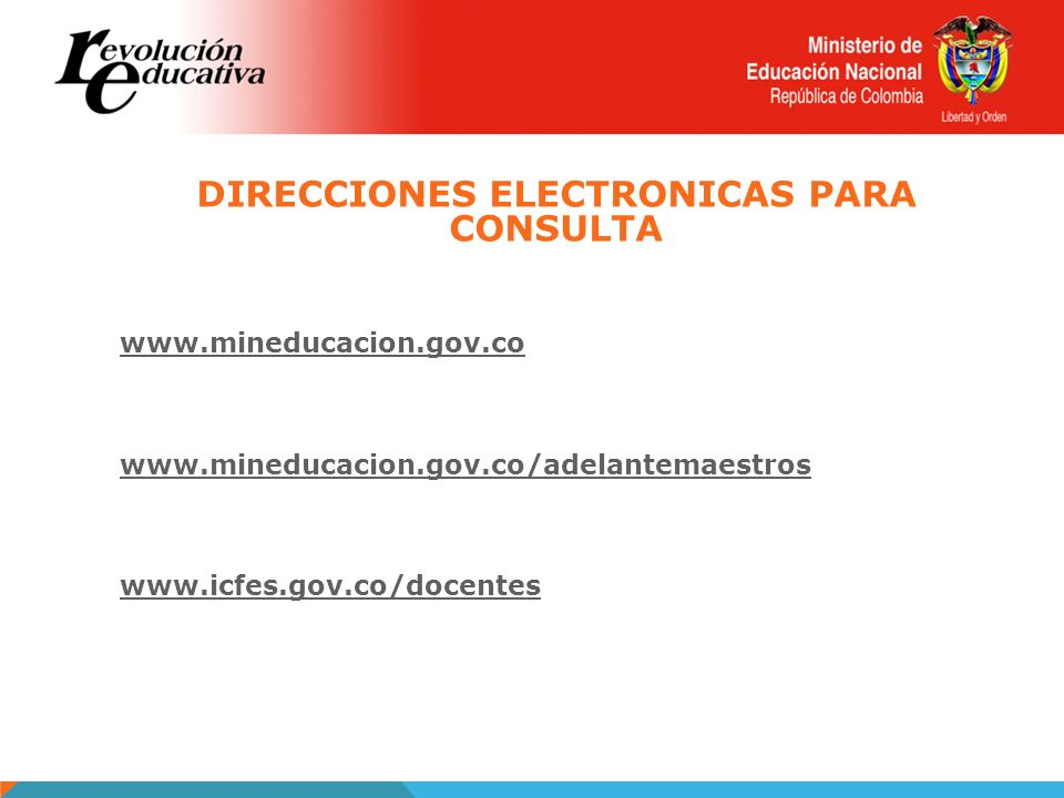 DIRECCIONES ELECTRONICAS PARA CONSULTA
