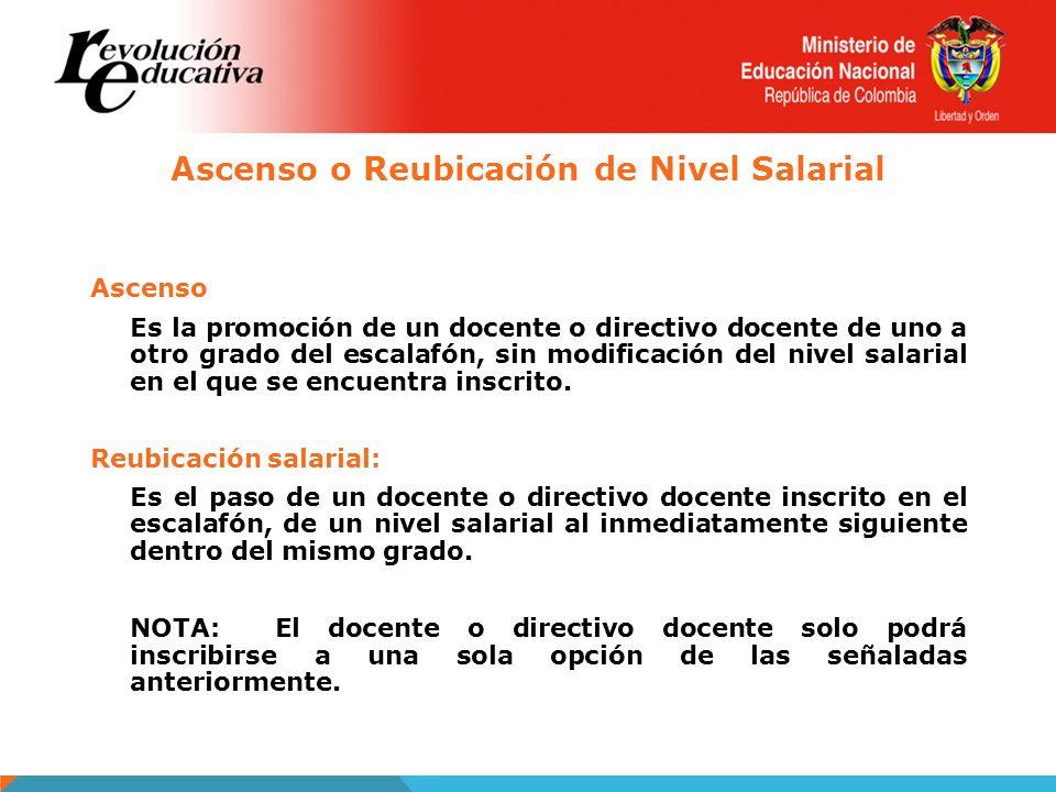 Ascenso o Reubicación de Nivel Salarial