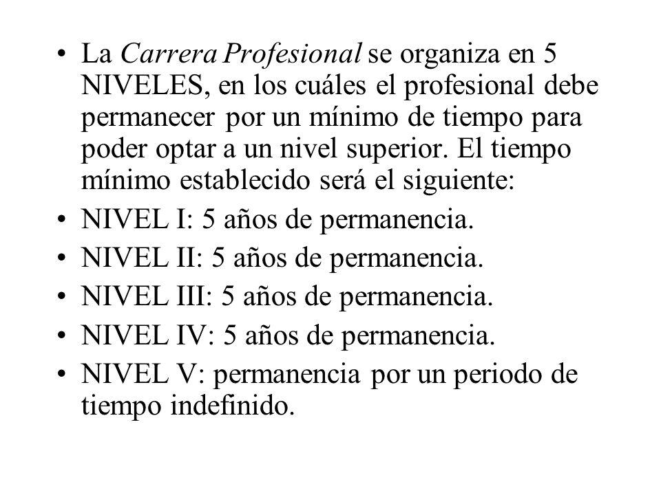 La Carrera Profesional se organiza en 5 NIVELES, en los cuáles el profesional debe permanecer por un mínimo de tiempo para poder optar a un nivel superior. El tiempo mínimo establecido será el siguiente: