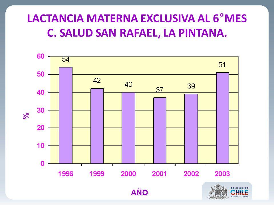 LACTANCIA MATERNA EXCLUSIVA AL 6°MES C. SALUD SAN RAFAEL, LA PINTANA.