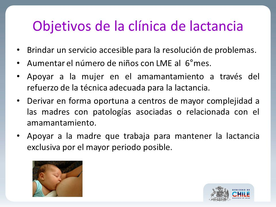 Objetivos de la clínica de lactancia