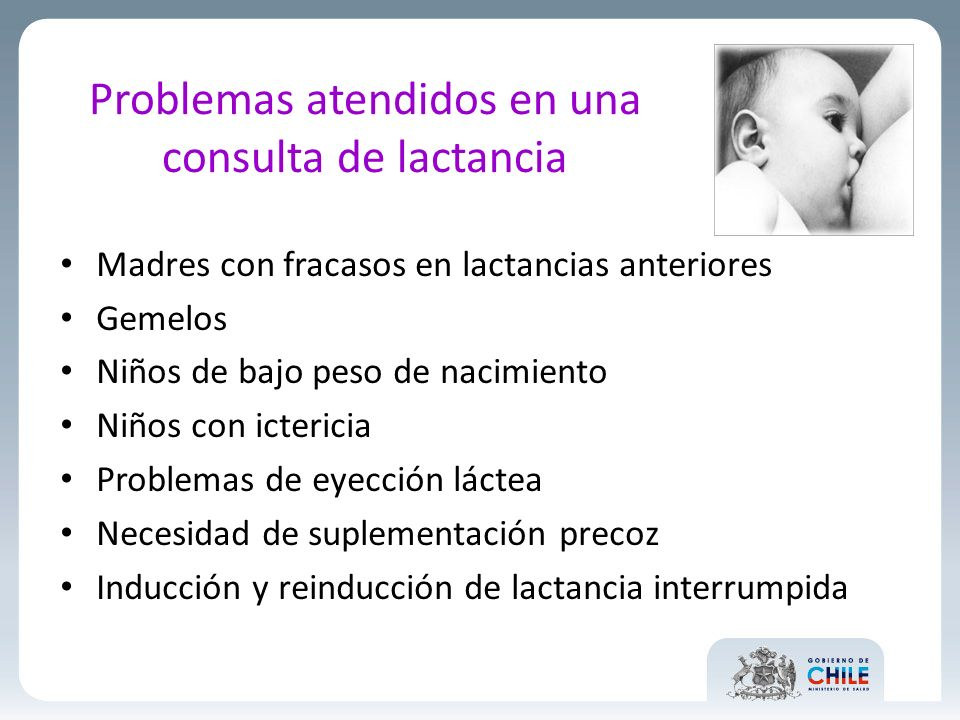 Problemas atendidos en una consulta de lactancia
