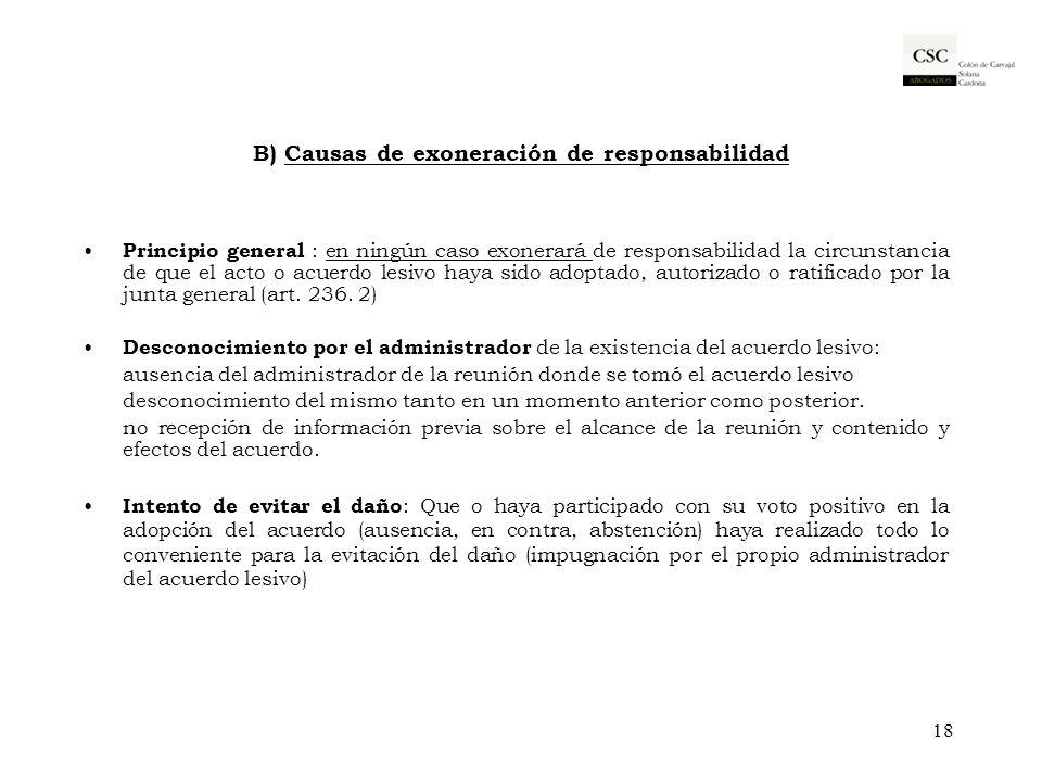 B) Causas de exoneración de responsabilidad