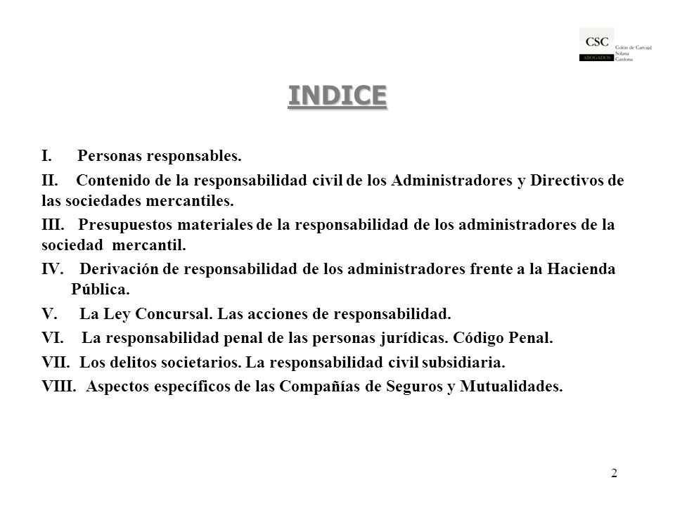INDICE I. Personas responsables.