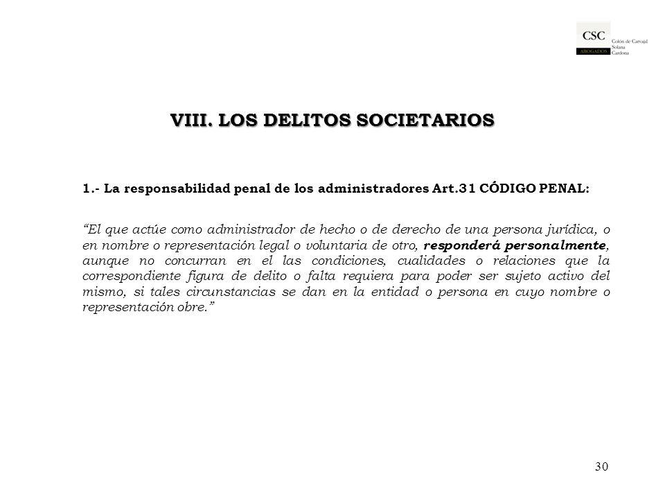 VIII. LOS DELITOS SOCIETARIOS
