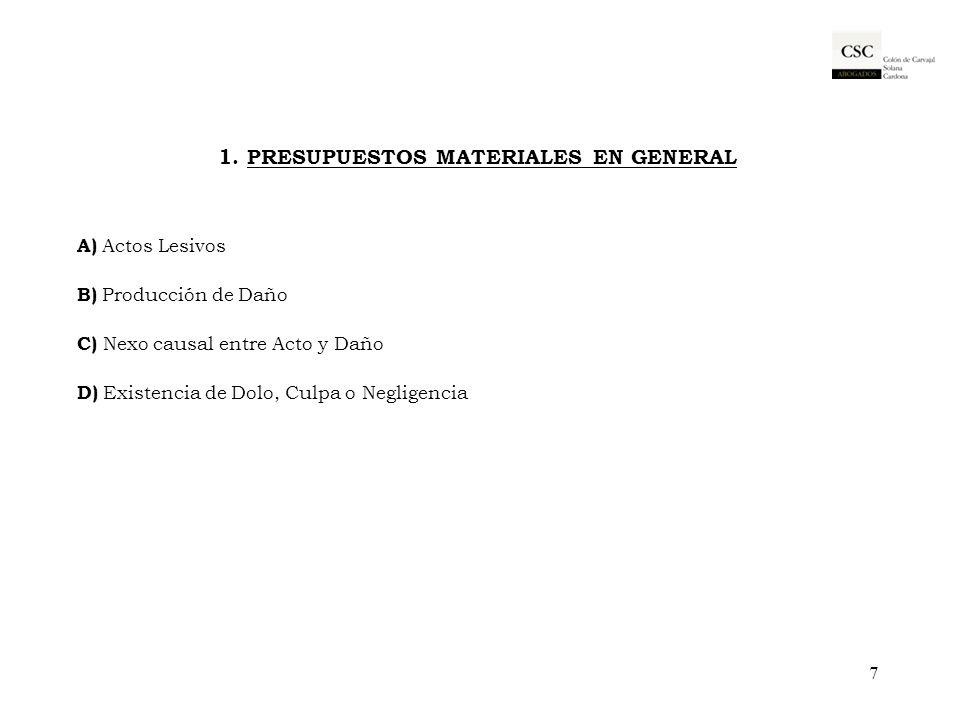 1. PRESUPUESTOS MATERIALES EN GENERAL