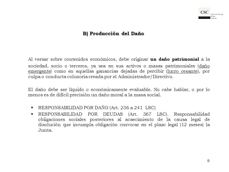 B) Producción del Daño