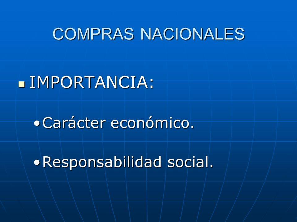 COMPRAS NACIONALES IMPORTANCIA: Carácter económico.
