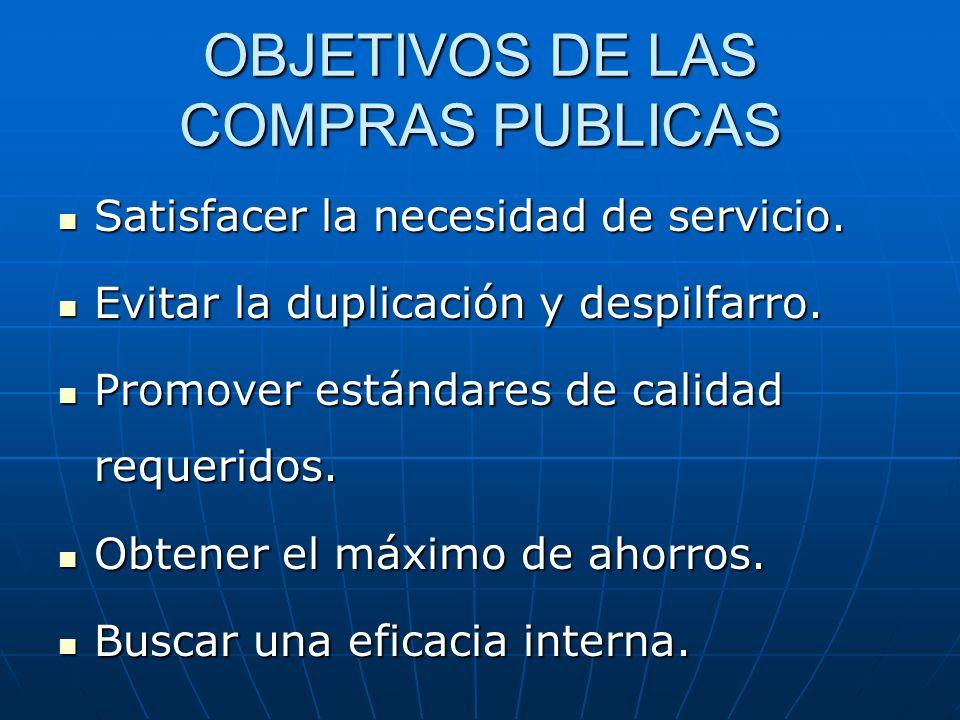 OBJETIVOS DE LAS COMPRAS PUBLICAS