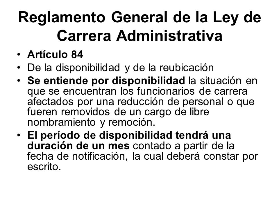 Reglamento General de la Ley de Carrera Administrativa