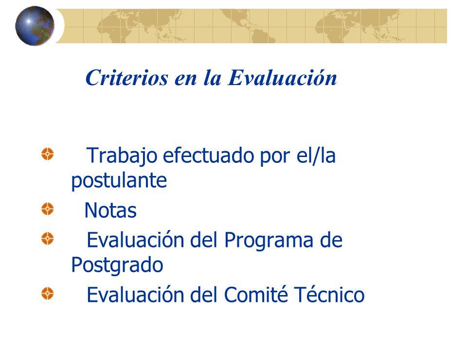 Criterios en la Evaluación