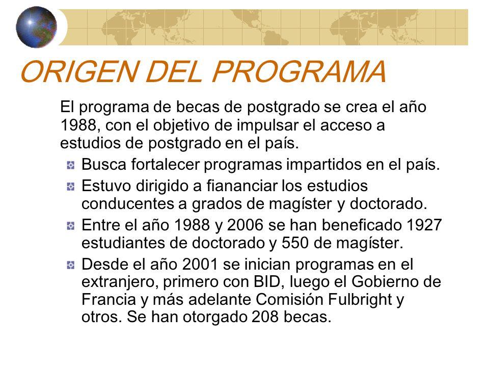 ORIGEN DEL PROGRAMA El programa de becas de postgrado se crea el año 1988, con el objetivo de impulsar el acceso a estudios de postgrado en el país.