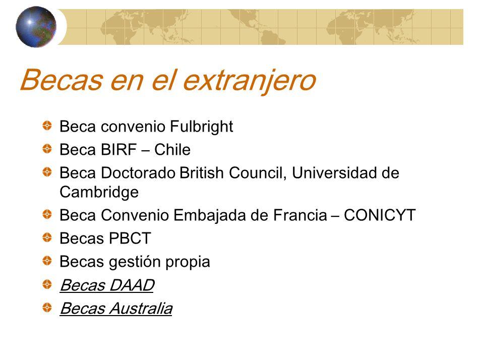 Becas en el extranjero Beca convenio Fulbright Beca BIRF – Chile