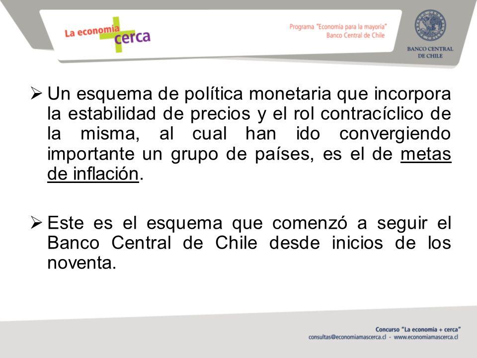 Un esquema de política monetaria que incorpora la estabilidad de precios y el rol contracíclico de la misma, al cual han ido convergiendo importante un grupo de países, es el de metas de inflación.
