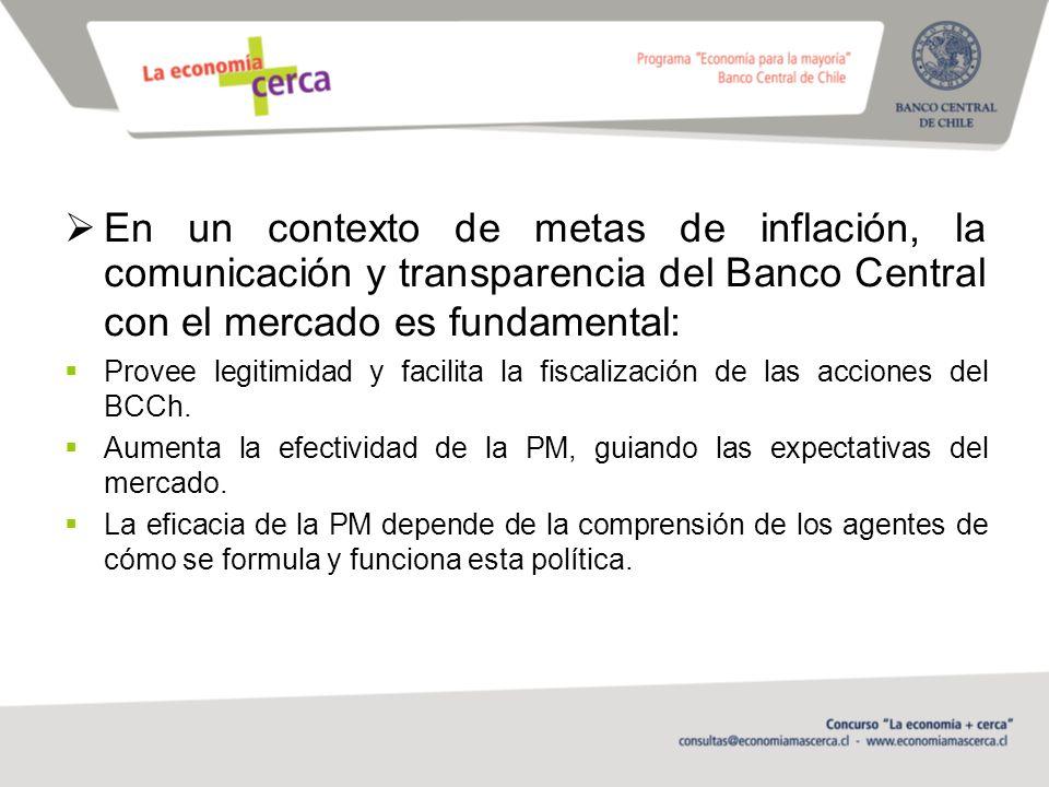 En un contexto de metas de inflación, la comunicación y transparencia del Banco Central con el mercado es fundamental: