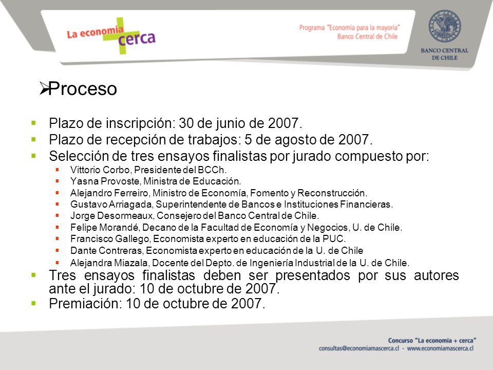 Proceso Plazo de inscripción: 30 de junio de 2007.