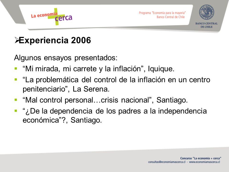 Experiencia 2006 Algunos ensayos presentados: