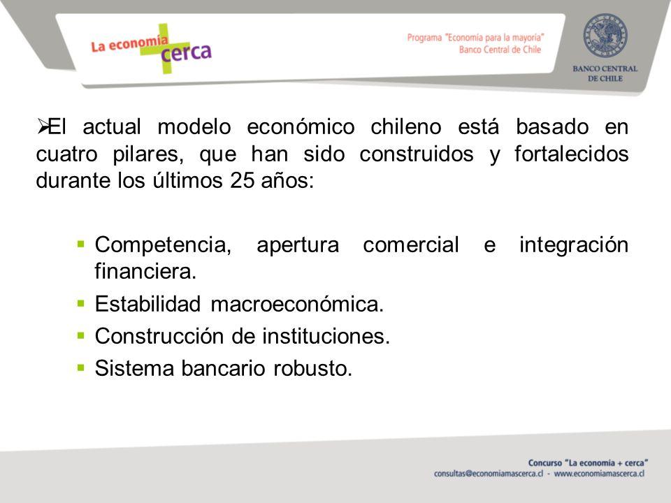El actual modelo económico chileno está basado en cuatro pilares, que han sido construidos y fortalecidos durante los últimos 25 años: