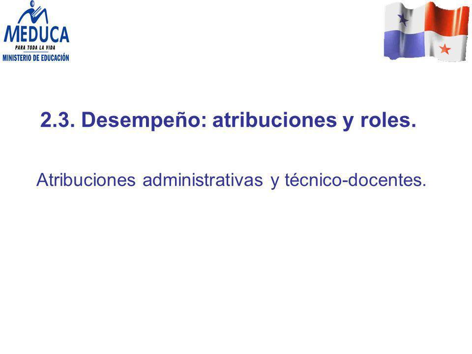 2.3. Desempeño: atribuciones y roles.