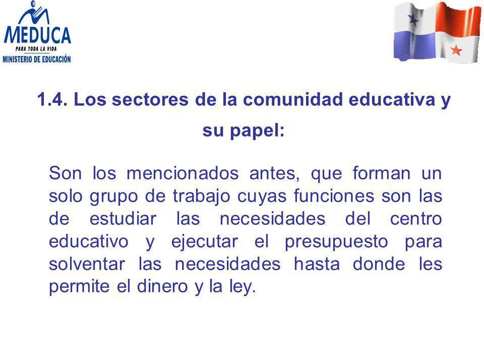 1.4. Los sectores de la comunidad educativa y su papel: