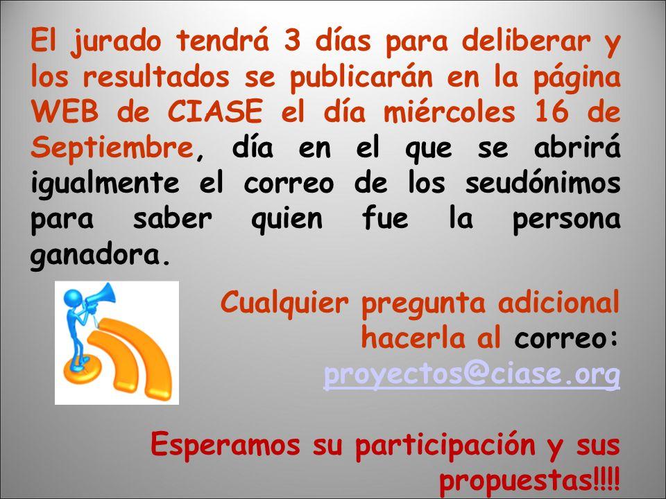 El jurado tendrá 3 días para deliberar y los resultados se publicarán en la página WEB de CIASE el día miércoles 16 de Septiembre, día en el que se abrirá igualmente el correo de los seudónimos para saber quien fue la persona ganadora.