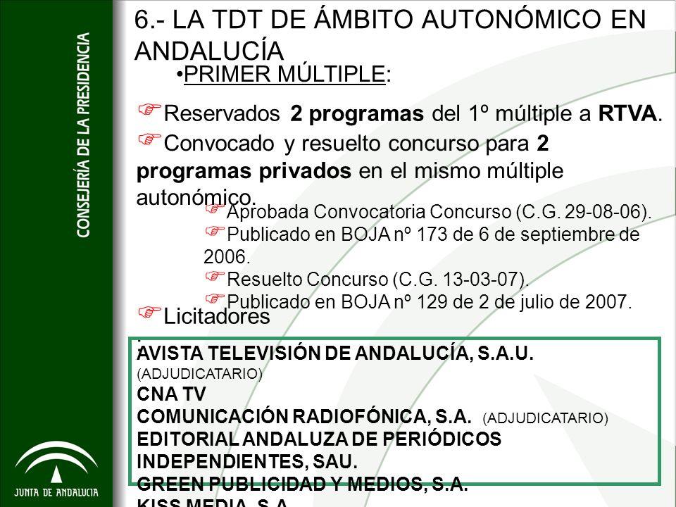 6.- LA TDT DE ÁMBITO AUTONÓMICO EN ANDALUCÍA