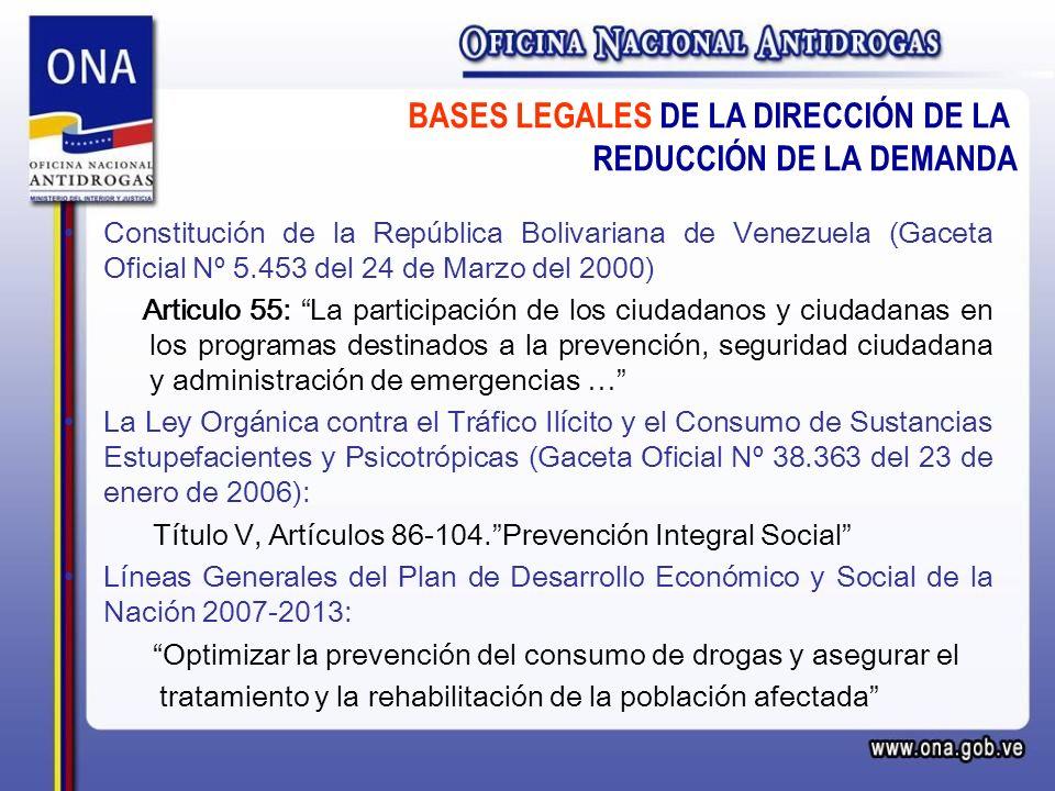 BASES LEGALES DE LA DIRECCIÓN DE LA REDUCCIÓN DE LA DEMANDA